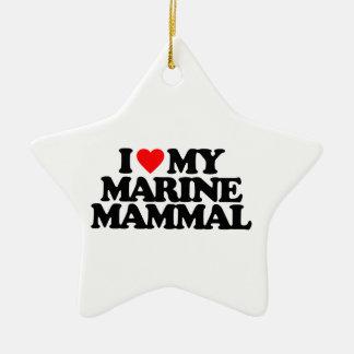 I LOVE MY MARINE MAMMAL Double-Sided STAR CERAMIC CHRISTMAS ORNAMENT