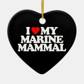 I LOVE MY MARINE MAMMAL Double-Sided HEART CERAMIC CHRISTMAS ORNAMENT