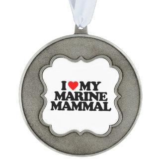 I LOVE MY MARINE MAMMAL SCALLOPED ORNAMENT