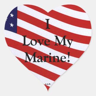 I Love My Marine Sticker