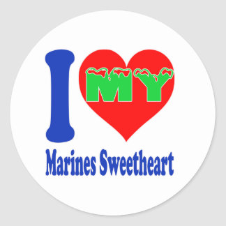 I love my Marines Sweetheart. Round Stickers