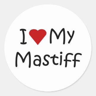 I Love My Mastiff Dog Breed Lover Gifts Classic Round Sticker