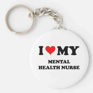 I Love My Mental Health Nurse Basic Round Button Key Ring