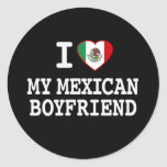 I love my Mexican Boyfriend with Heart Flag Round Stickers
