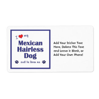 I Love My Mexican Hairless Dog (Male Dog) Shipping Label