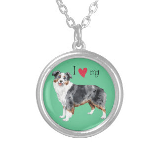 I Love my Mini American Shepherd Silver Plated Necklace