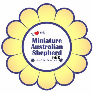 I Love My Mini Australian Shepherd Mix (Male Dog) Photo Sculpture Decoration