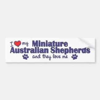 I Love My Mini Australian Shepherds (Multi Dogs) Bumper Sticker