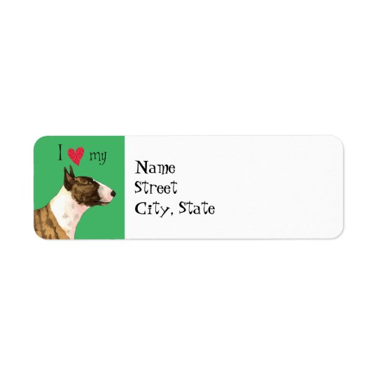 I Love my Miniature Bull Terrier Return Address Label