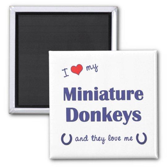 I Love My Miniature Donkeys (Multiple Donkeys) Square Magnet