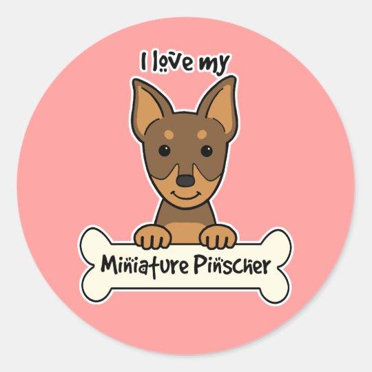 I Love My Miniature Pinscher Classic Round Sticker