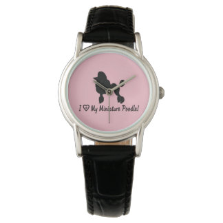 I Love My Miniature Poodle with Heart and Paws Wristwatch