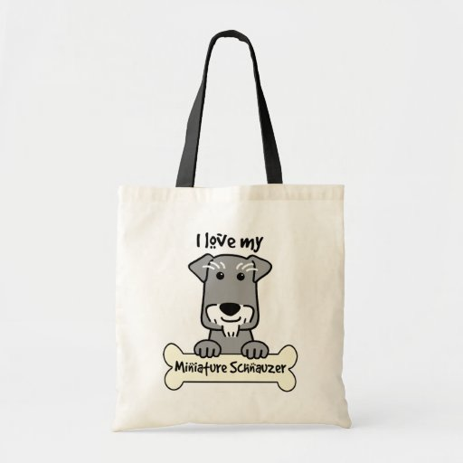 I Love My Miniature Schnauzer Canvas Bags