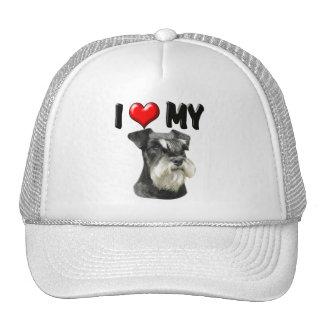 I Love My Miniature Schnauzer Mesh Hats