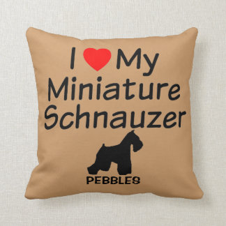 I Love My Miniature Schnauzer Dog Pillow