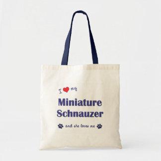 I Love My Miniature Schnauzer (Female Dog) Tote Bags