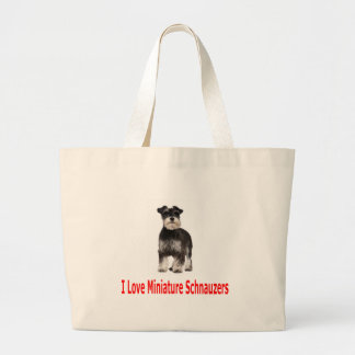 I Love My Miniature Schnauzer Large Tote Bag