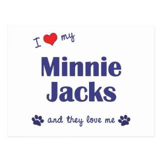 I Love My Minnie Jacks (Multiple Dogs) Postcard