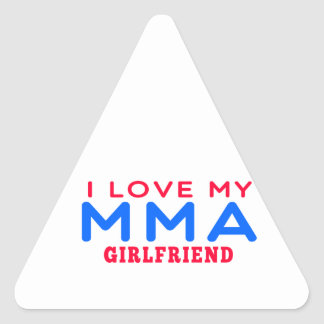 I Love My Mixed martial arts Girlfriend Triangle Sticker