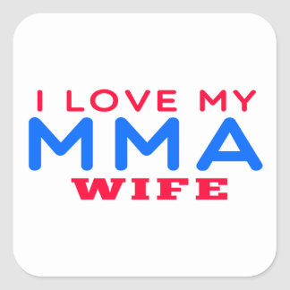 I Love My Mixed martial arts Wife Square Stickers