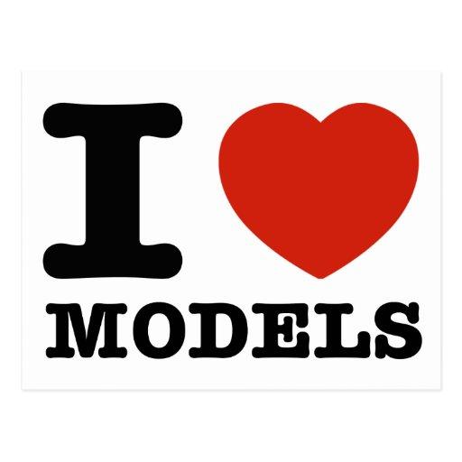 I love my models postcards