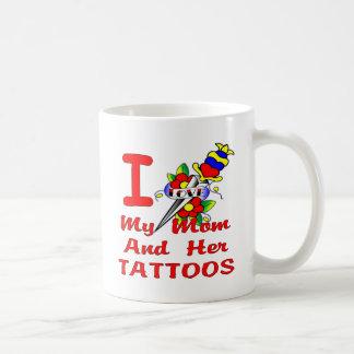 I Love My Mom And Her Tattoos Basic White Mug