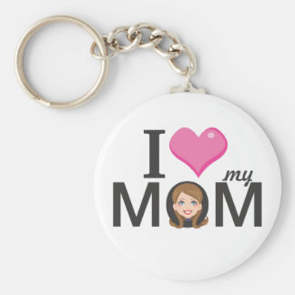 I love my Mom Basic Round Button Key Ring