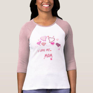 I Love my Mom- Cute Pink Lovehearts Shirt