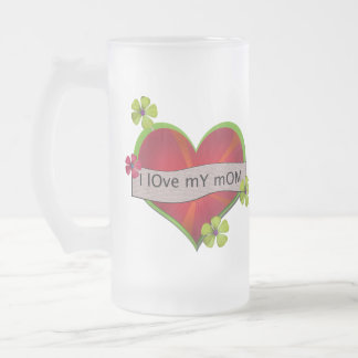 I Love My Mom Frosted Glass Mug