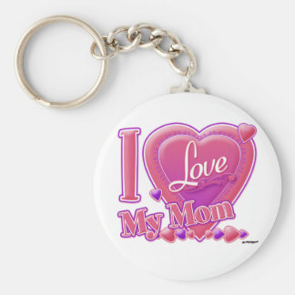 I Love My Mom pink/purple - heart Basic Round Button Key Ring