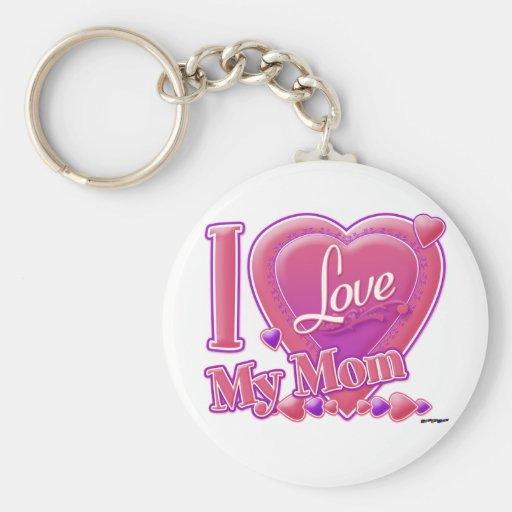 I Love My Mom pink/purple - heart Key Chain