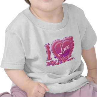 I Love My Mom pink purple - heart Tee Shirt