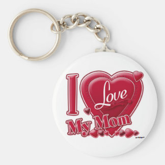 I Love My Mom red - heart Basic Round Button Key Ring