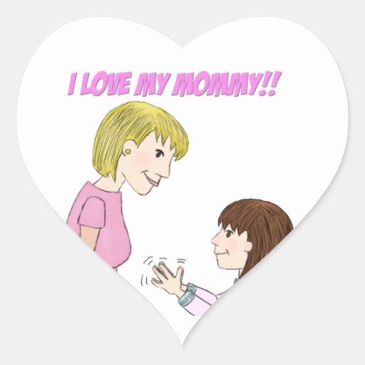 I love my Mom Heart Stickers