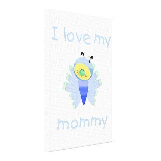 I love my mommy boy flutterbug stretched canvas prints
