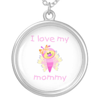 I love my mommy (girl flutterbug) silver plated necklace