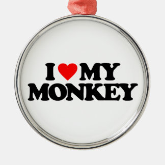 I LOVE MY MONKEY Silver-Colored ROUND DECORATION
