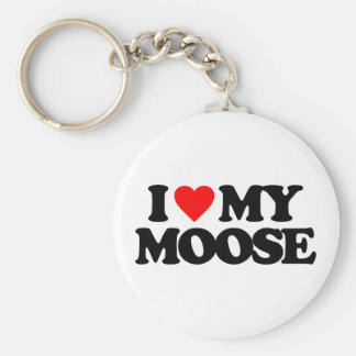 I LOVE MY MOOSE BASIC ROUND BUTTON KEY RING
