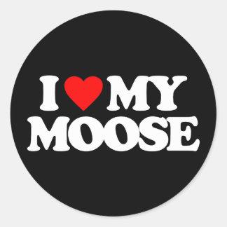 I LOVE MY MOOSE CLASSIC ROUND STICKER