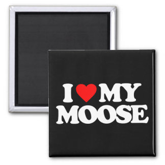 I LOVE MY MOOSE SQUARE MAGNET