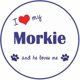 I Love My Morkie (Male Dog) Photo Sculpture Decoration