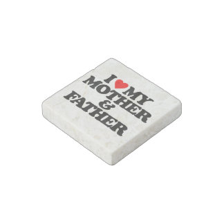 I LOVE MY MOTHER & FATHER STONE MAGNET
