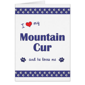 I Love My Mountain Cur (Male Dog) Note Card