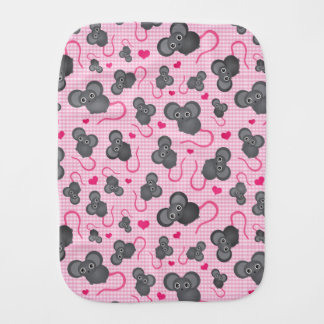I love my mouse pattern in pink burp cloth