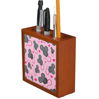I love my mouse pattern in pink desk organiser