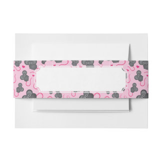 I love my mouse pattern in pink invitation belly band