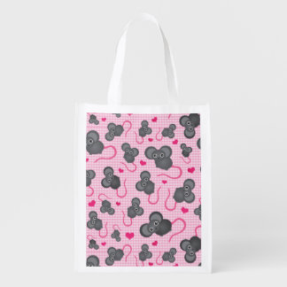I love my mouse pattern in pink reusable grocery bag