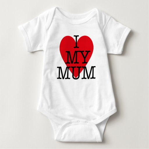 I Love My Mum Baby Mothers Day Red Heart Design Baby Bodysuit