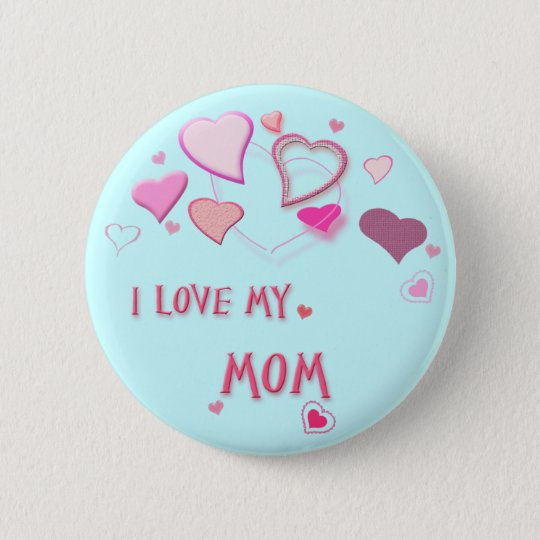 I Love my Mum - Cute Pink Lovehearts Badge