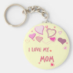 I Love my Mum - Cute Pink Lovehearts Basic Round Button Key Ring
